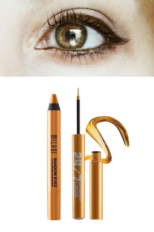 Lens màu hạt dẻ - Eyeliner màu vàng đồng