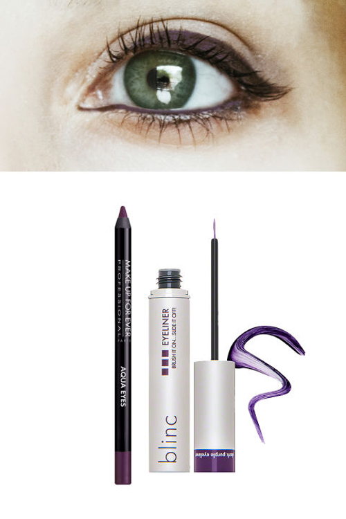 Lens xanh lá cây - Eyeliner tím