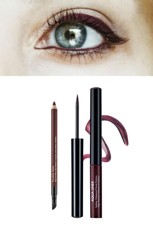 Lens xám - Eyeliner đỏ burgundy