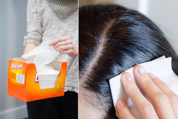 Khi tóc bị tích điện do mặc áo len vào mùa đông, hãy dùng giấy thấm dầu chà nhẹ lên toàn bộ mái tóc từ gốc tới ngọn,