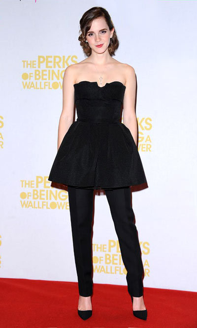 Emma Watson special screening of The Perks of Being a Wallflower in London, Christian Dior Fall 2012 Couture.