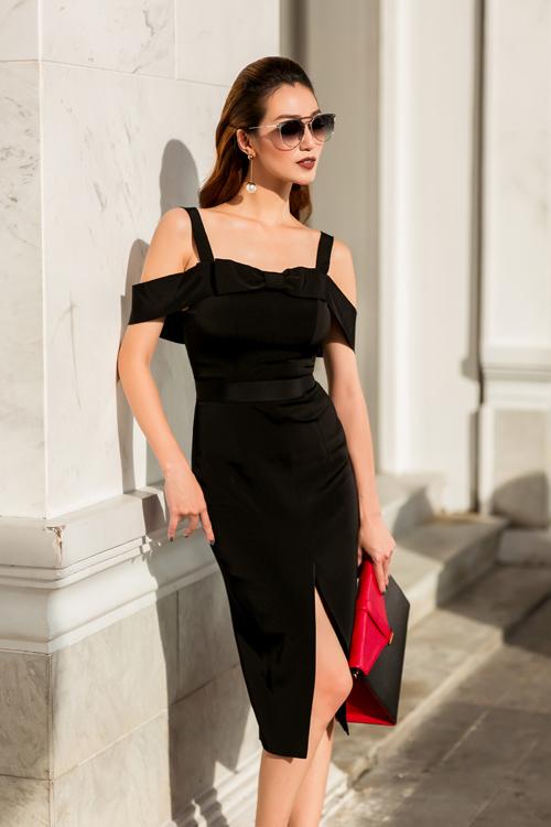 Đầm lụa đen 2 dây với vai trễ dễ dàng ứng dụng cho phái đẹp sành điệu khi đi dạo phố hoặc tham dự các buổi tiệc nhẹ.