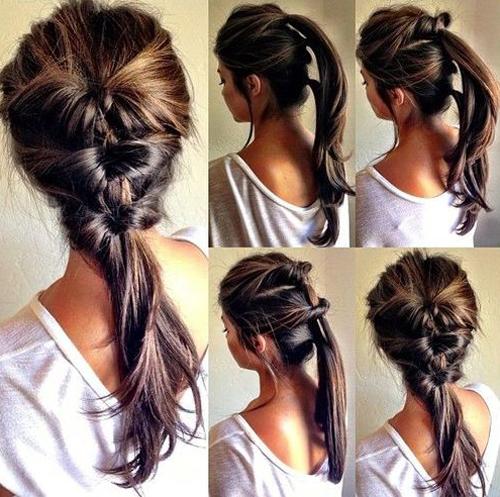 Cột tóc thành ba tầng rồi vặn ngược tóc từ ngoài vào trong qua nút thắt để có được kiểu tóc