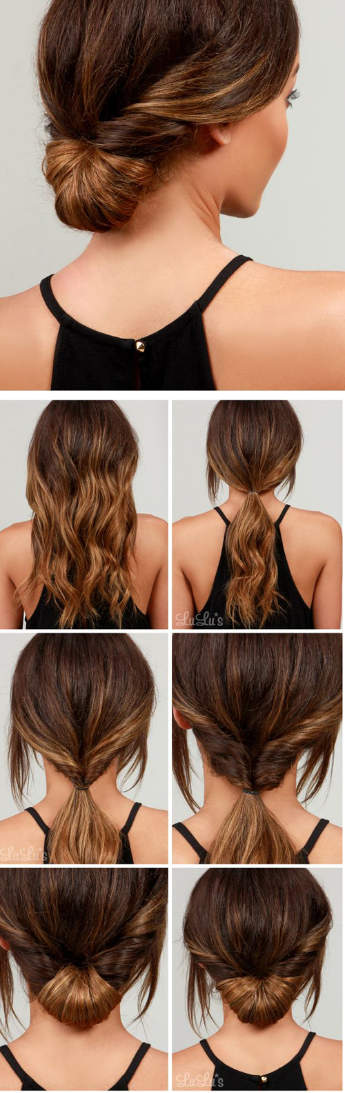 Cũng sử sụng kỹ thuật cuộn tóc, bạn có thể tạo kiểu tóc búi cuộn đơn giản mà đẹp mắt.