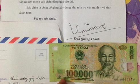 Chủ nhà gửi thư chúc 20/10 kèm tiền mua kẹo cho khách trọ