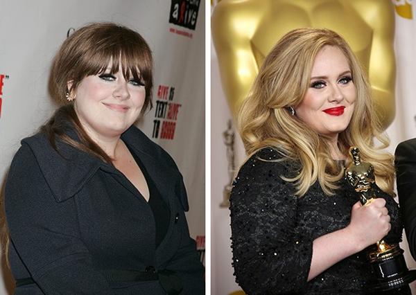 Mái tóc xoăn óng ả và màu son đỏ quyến rũ đã trở thành thương hiệu của Adele.