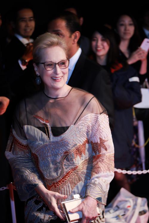 Meryl Streep là sao Hollywood hiếm hoi xuất hiện tại sự kiện này. Phim mới nhất của minh tinh là Florence Foster Jenkins được chiếu mở màn năm nay.