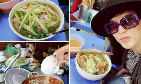 Vợ chồng Thu Phương nếm thử bún chửi Hà Nội