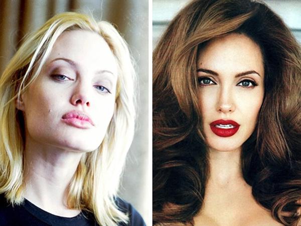 Màu tóc vàng khiến Angelina Jolie trông nhợt nhạt, kém sắc.