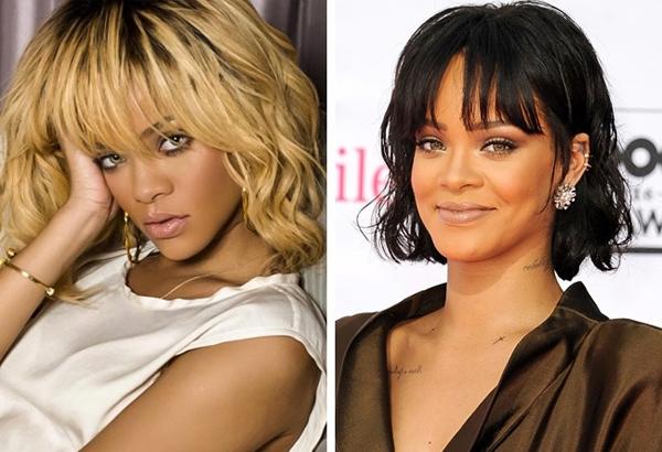 Cũng giống như Kim, Rihanna trông sắc sảo và quyến rũ hơn với màu tóc sẫm.
