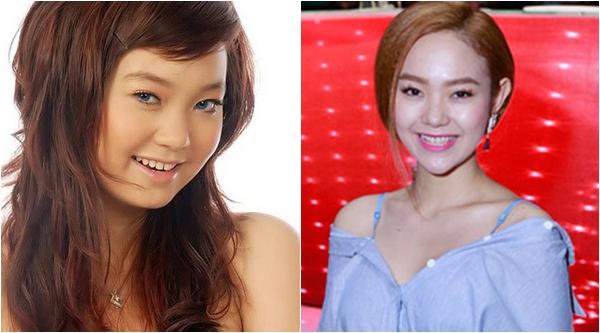 Hình ảnh ngày ấy, bây giờ của Minh Hằng cho thấy sự thay đổi rõ ràng của Bé Heo, đặc biệt là chiếc cằm nhọn hoắt bất thường.
