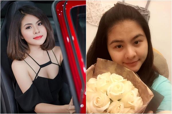 Quá trình mang thai cũng khiến khuôn mặt Vân Trang thay đổi đáng kể.