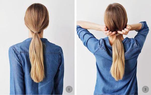 Buộc đuôi ngựa thấp toàn bộ tóc.