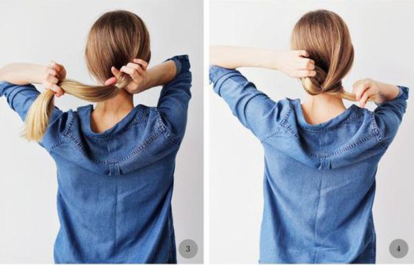 Cuộn đuôi tóc vòng qua khe hở vừa chia.