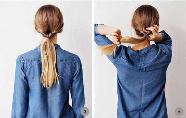 Tiếp tục cuộn đuôi tóc thêm một lần nữa.
