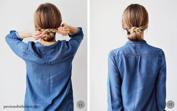 Rồi dùng chính đuôi tóc vừa tết cuộn tròn quanh nút thắt ban đầu. Vậy là bạn đã có được kiểu tóc búi thấp điệu đà cho ngày đầu tuần thêm năng động.