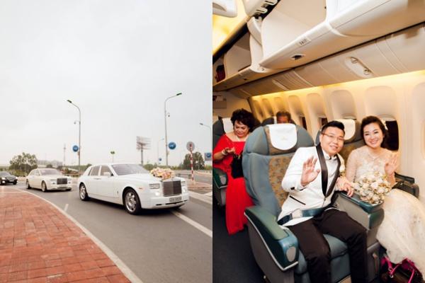 [Caption]Dàn siêu xe đưa dâu, trong đó nổi bật nhất là hai chiếc xe Roll Royce màu trắng, trên đường di chuyển đến sân bay Nội Bài.Đức Thắng đã không ngần ngại bao trọn cả khoang khách hạng thương gia để đưa nàng về dinh.