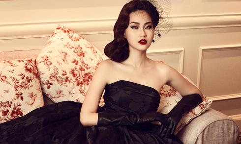 Khánh Ngân The Face hóa quý cô cổ điển với đầm đen