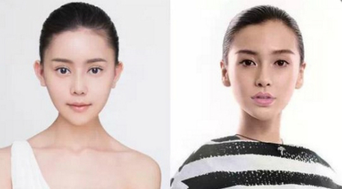 Wu Yuqing (trái) đã có đôi mắt, sống mũi, khuôn cằm giống với Angelababy (phải).