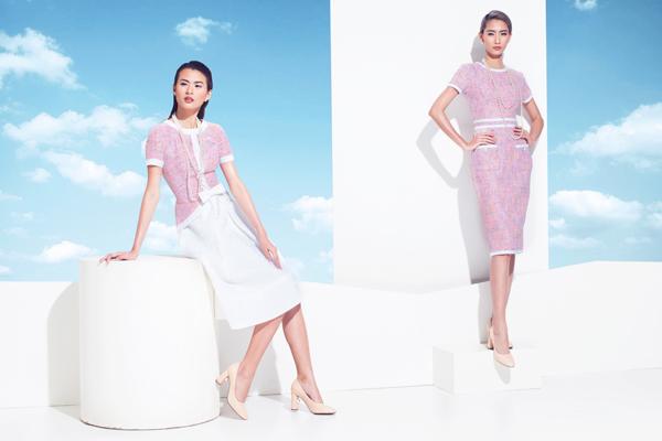 Phái đẹp toát lên nét ngọt ngào với gam hồng phối kèm màu trắng thanh lịch. Toàn bộ phụ kiện và giày đều do nhà thiết kế sản xuất.
