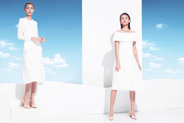 Đầm trắng thanh lịch với chất liệu thoáng mát cho các cô nàng dễ ứng dụng tại công sở hay khi tham gia các buổi tiệc nhẹ.