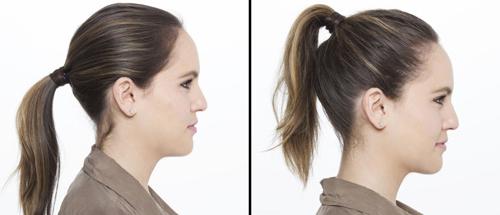 Còn khi buộc tóc đuôi ngựa cao, khuôn mặt trông sẽ có cảm giác dài hơn bình thường.