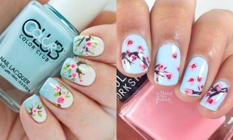 18 mẫu nail hoa đào 3D đẹp mê mẩn cho cô dâu đầu năm