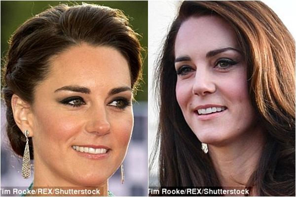 Ảnh trái: Công nương Kate tại bữa tiệc Royal Albert Hall năm 2012. Ảnh phải: Hình ảnh công nương Kate mớ