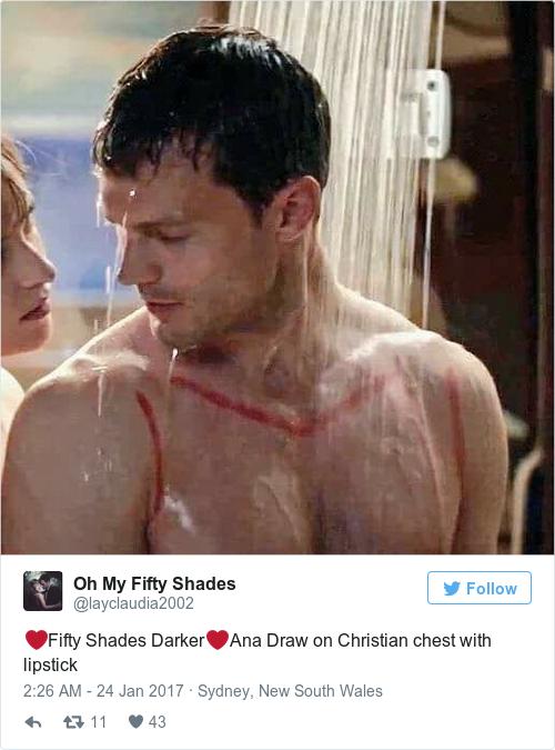 Cảnh quay Ana dùng son vẽ lên ngực Christian
