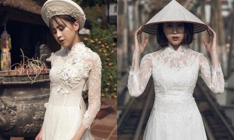 4 mẫu áo dài trắng cho tân nương mùa cưới 2017