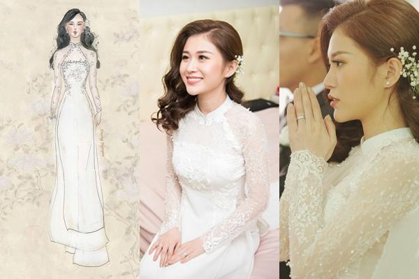 [Caption]Mẫu áo dài lụa trắng được thêu chỉ trắng theo phong cách white-on-white mang đến vẻ đẹp dịu dàng, hiện đại cho