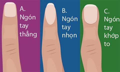 Tính cách bộc lộ qua hình dạng ngón tay