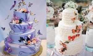 Trang trí bánh cưới với cánh bướm 3D