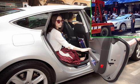 Xe 4 tỷ của Hoa hậu Thu Hoài bị cẩu đi vì lấn chiếm