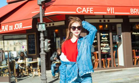 Ngọc Trinh mặc bụi bặm dạo chơi ở Paris