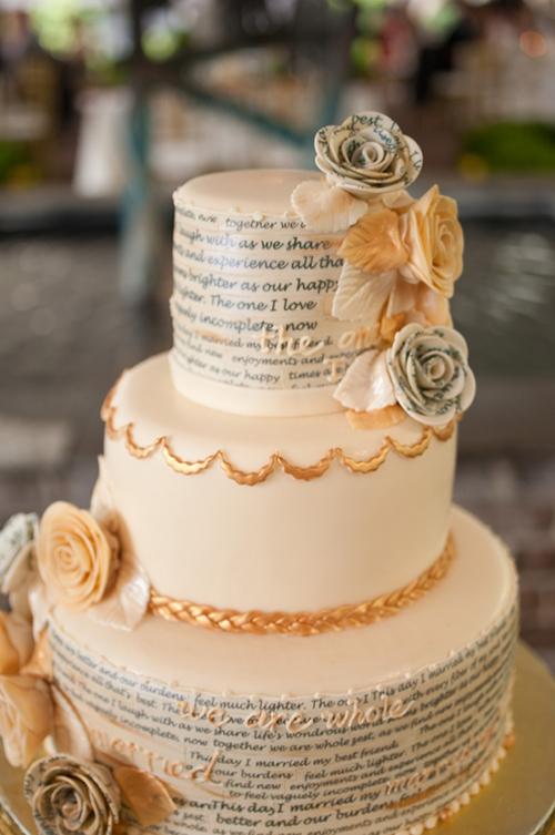 [Caption]Những mẫu bánh cưới với hoa, kem hay những phụ kiện điệu đà không phải là những phụ kiện trang trí duy nhất cho bánh cưới. Trang trí bánh cưới với họa tiết bằng chữ là một ý tưởng thú vị cho cô dâu chú rể hiện đại.