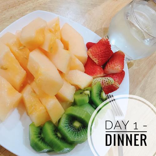 Bữa tối: Dưa và kiwi