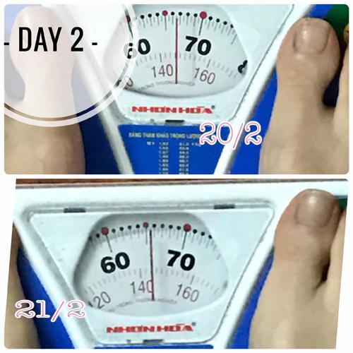 Hồng Nhung giảm khoảng 1 kg sau 2 ngày ăn kiêng.