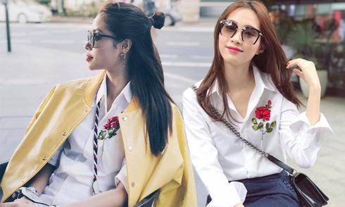 Sao Việt 'phải lòng' mốt sơ mi thêu hoa ruy băng