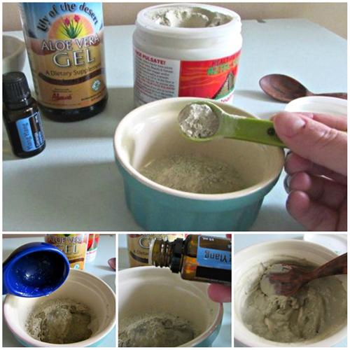 Trộn 2 thìa đất sét trắng với 1 thìa gel lô hội, thêm 1 thìa nước cùng 3 giọt tinh dầu.