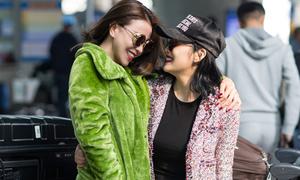 Trà Ngọc Hằng, Milan Phạm thân thiết ở sân bay