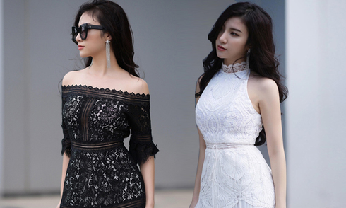 Hạnh Sino mix đồ sexy với trang phục trắng đen