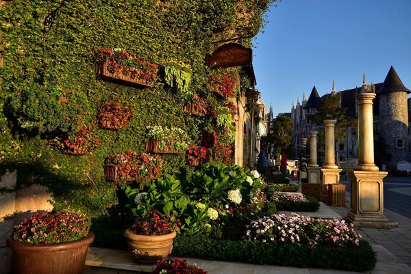 Nhà hàng Kavkaz Vista khoác áo mới với hai mảng tường hoa, lá được trang trí cầu kỳ, bắt mắt. Mảng tường hoa bên trái tòa tháp là bộ sưu tập các loài hoa mai địa thảo, ngọc thảo, còn mảng tường hoa bên phải lại là vũ điệu sắc màu sống động của các giống thu hải đường.