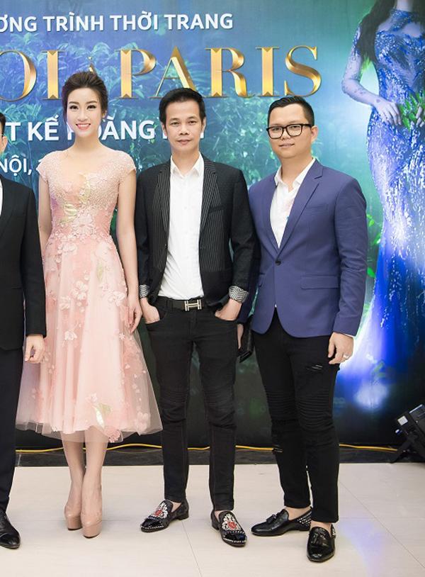 Đỗ Mỹ Linh rạng rỡ bên NTK Hoàng Hải và đạo diễn Long Kan.