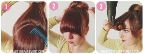 Lấy riêng phần tóc mái,