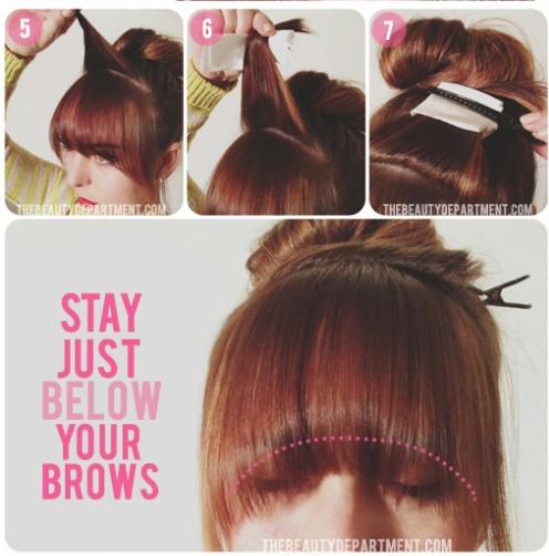Cặp gọn phần tóc mái phía trên lên đỉnh đầu.