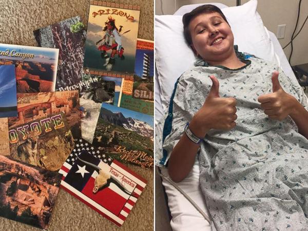 Mẹ khẩn cầu người lạ khắp 50 bang gửi bưu thiếp cho con trai ung thư...