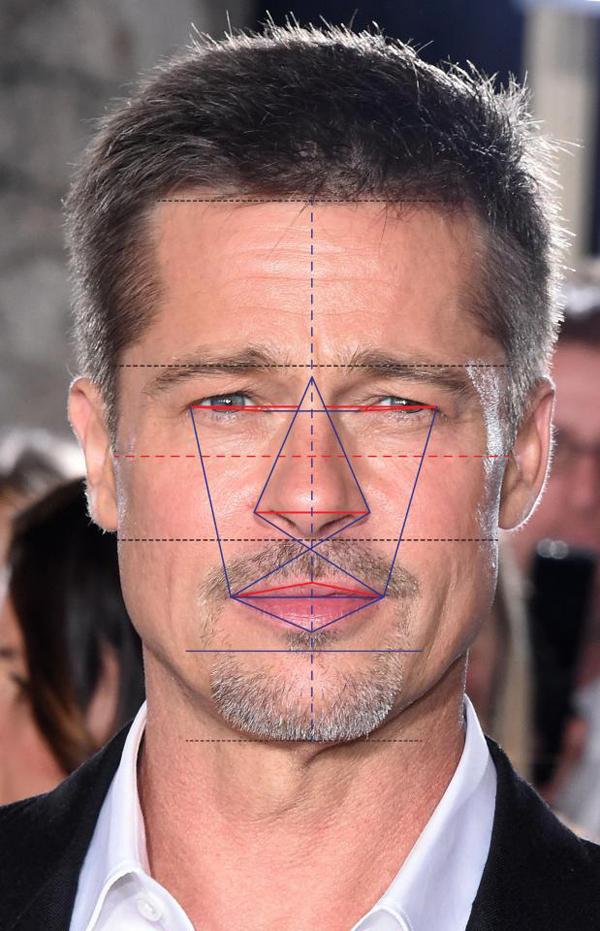 Brad Pitt giữ vững vị trí nam thần trong lòng các chị em nhiều thập kỷ qua. Anh có khuôn mặt đạt 90,51% tỷ lệ vàng, xếp thứ 3.