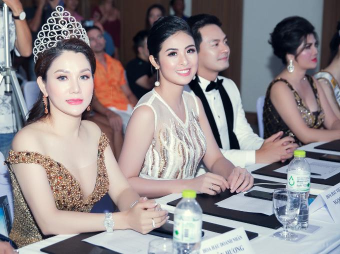 Hoa hậu Xuân Hương hội ngộ Ngọc Hân tại cuộc thi nhan sắc ở Thái Lan