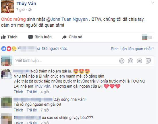 Á hậu Thúy Vân bất ngờ tuyên bố chia tay bạn trai đại gia